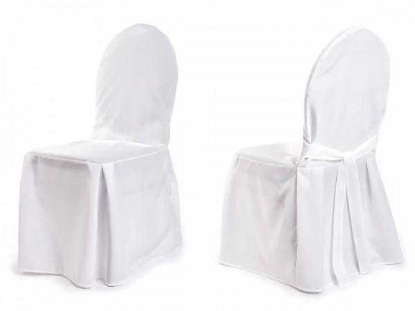 Stuhlhusse oval mit Schleife weiß